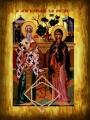 ΕΙΚΟΝΑ ΞΥΛΙΝΗ ΑΓΙΟΙ ΚΥΠΡΙΑΝΟΣ ΚΑΙ ΙΟΥΣΤΙΝΗ